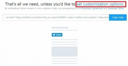 set customization options