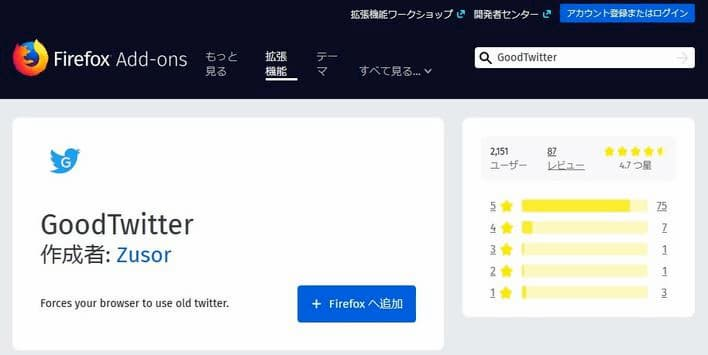 Firefox Add-on GoodTwitter インストール画面