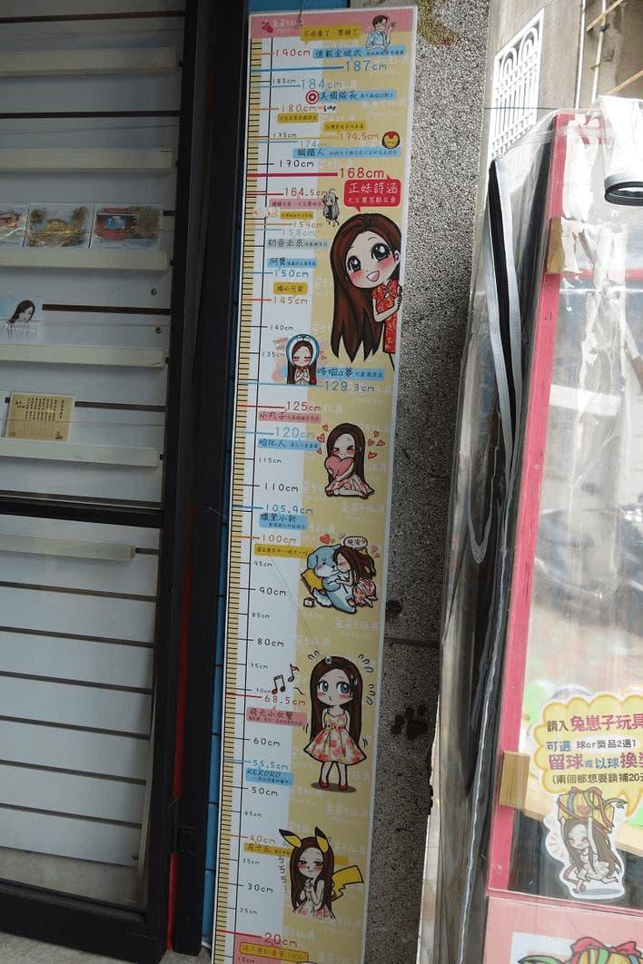 台湾で見つけたキャラクター身長表