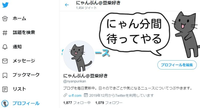 Twitterプロフィール画面、@username