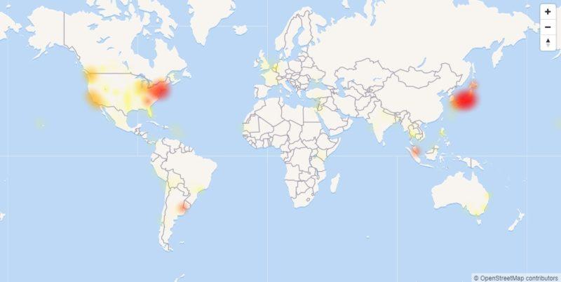 Downdetector、ワールドマップ