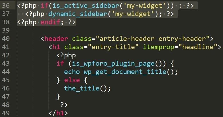 content.phpの中身、dynamic_sidebarを追加、タイトル上