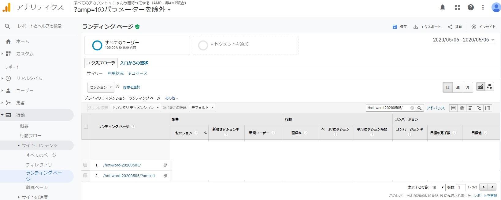 Googleアナリティクス管理画面、行動>サイトコンテンツ>ランディングページ