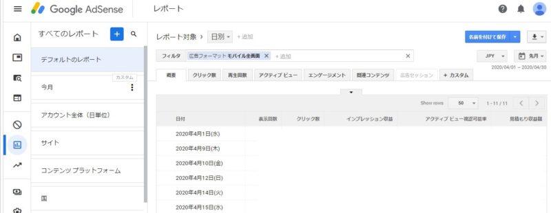 Googleアドセンス管理画面、レポート>フィルタ>広告フォーマット>モバイル全画面02