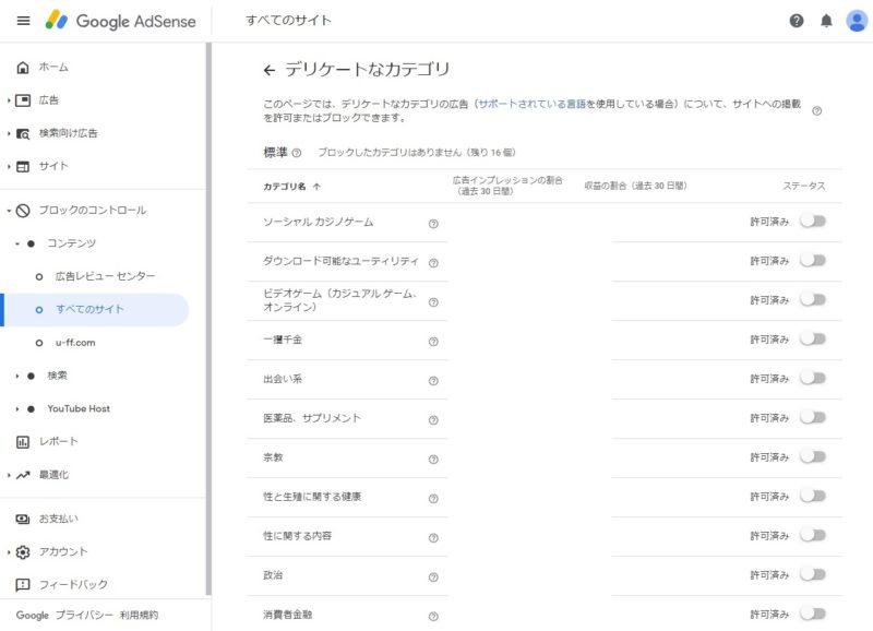 Googleアドセンス管理画面、ブロックのコントロール、デリケートなカテゴリ