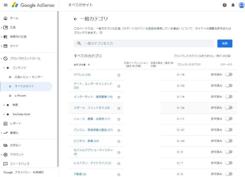 Googleアドセンス管理画面、ブロックのコントロール>すべてのサイト、一般カテゴリー